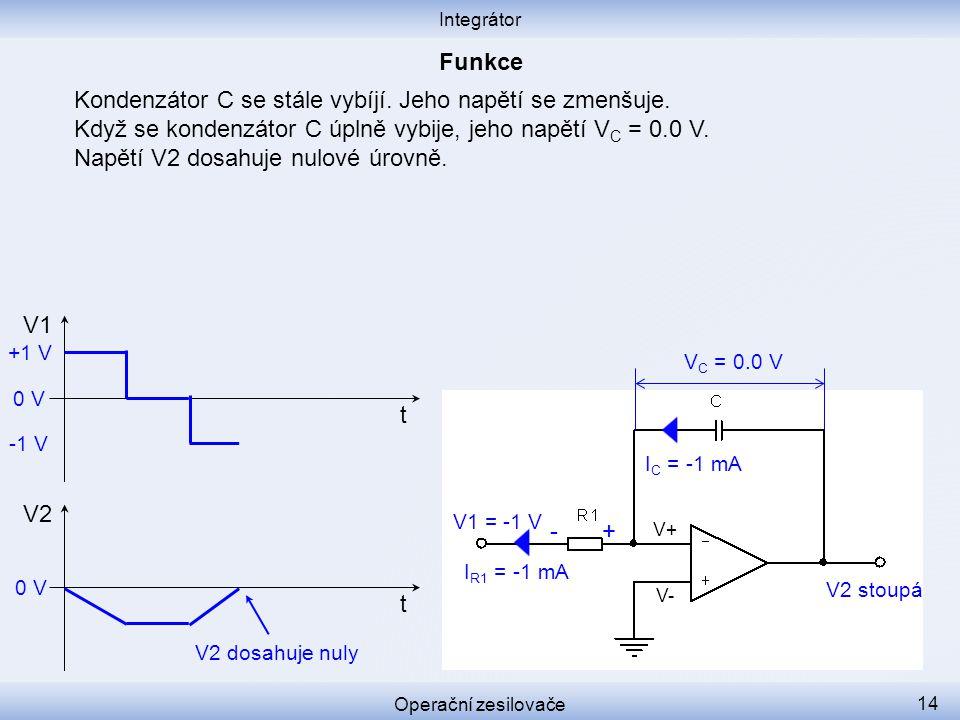 Kondenzátor C se stále vybíjí. Jeho napětí se zmenšuje. Když se kondenzátor C úplně vybije, jeho napětí V C = 0.0 V. Napětí V2 dosahuje nulové úrovně.
