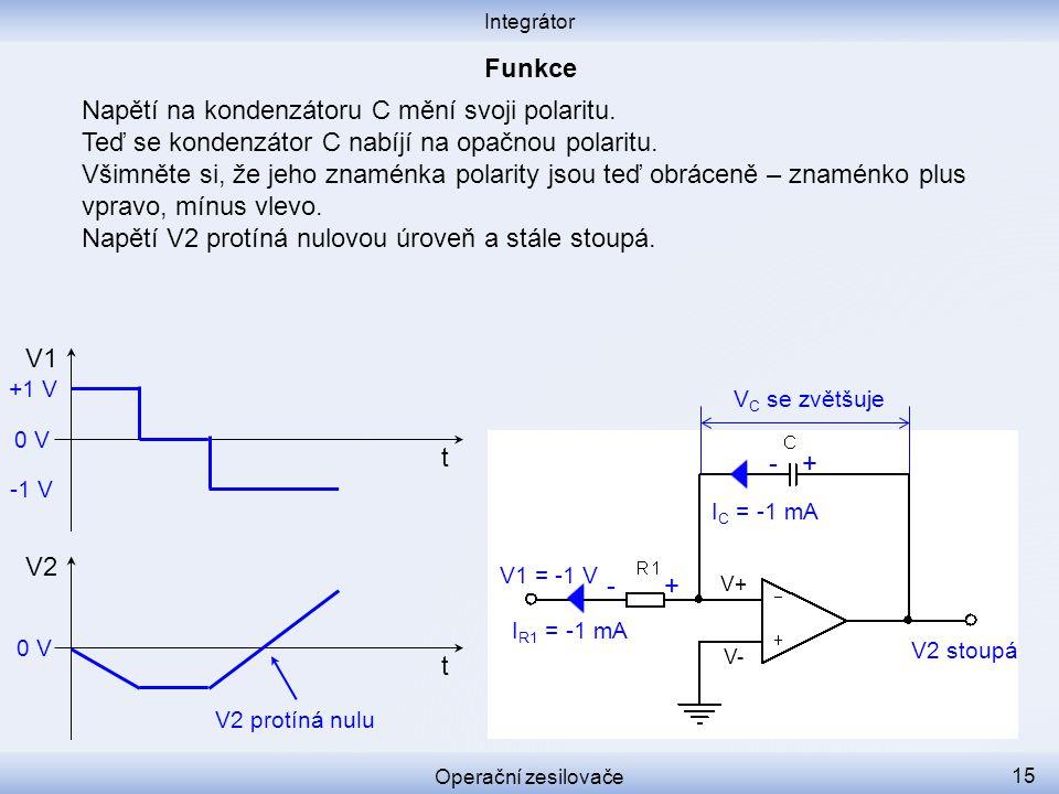 Napětí na kondenzátoru C mění svoji polaritu. Teď se kondenzátor C nabíjí na opačnou polaritu. Všimněte si, že jeho znaménka polarity jsou teď obrácen
