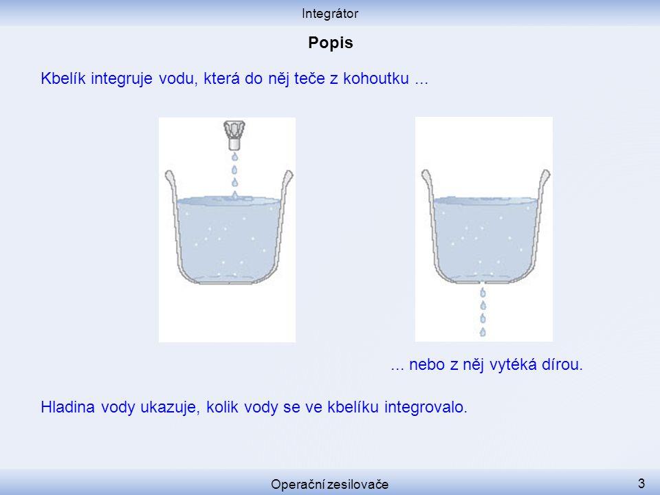 Kbelík integruje vodu, která do něj teče z kohoutku... Integrátor Operační zesilovače 3... nebo z něj vytéká dírou. Hladina vody ukazuje, kolik vody s