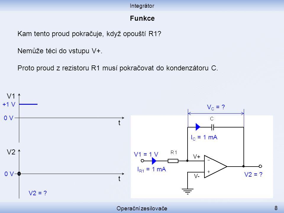 Kam tento proud pokračuje, když opouští R1? Nemůže téci do vstupu V+. Proto proud z rezistoru R1 musí pokračovat do kondenzátoru C. Integrátor Operačn