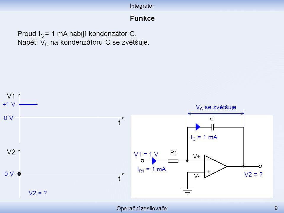 Proud I C = 1 mA nabíjí kondenzátor C. Napětí V C na kondenzátoru C se zvětšuje. Integrátor Operační zesilovače 9 I C = 1 mA I R1 = 1 mA V+ V- V C se