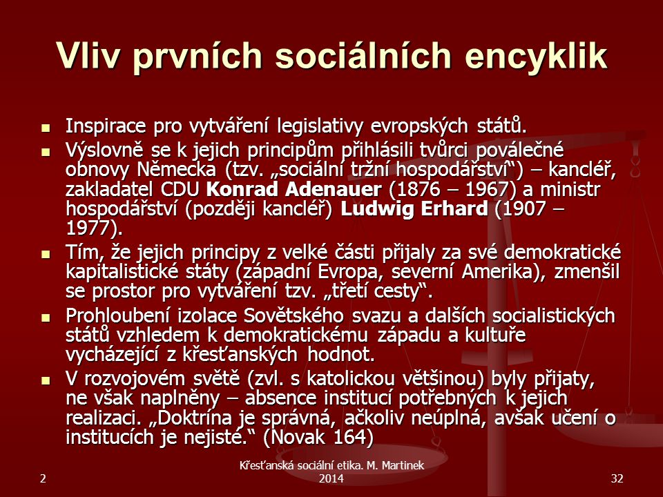 2 Křesťanská sociální etika. M. Martinek 201432 Vliv prvních sociálních encyklik Inspirace pro vytváření legislativy evropských států. Inspirace pro v