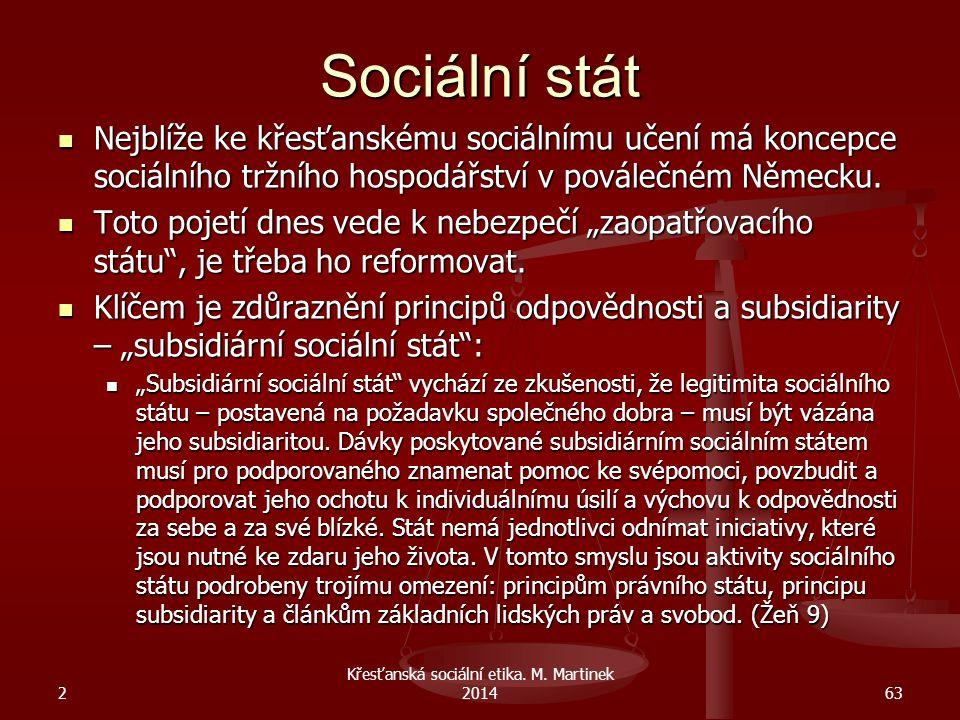 Sociální stát Nejblíže ke křesťanskému sociálnímu učení má koncepce sociálního tržního hospodářství v poválečném Německu. Nejblíže ke křesťanskému soc