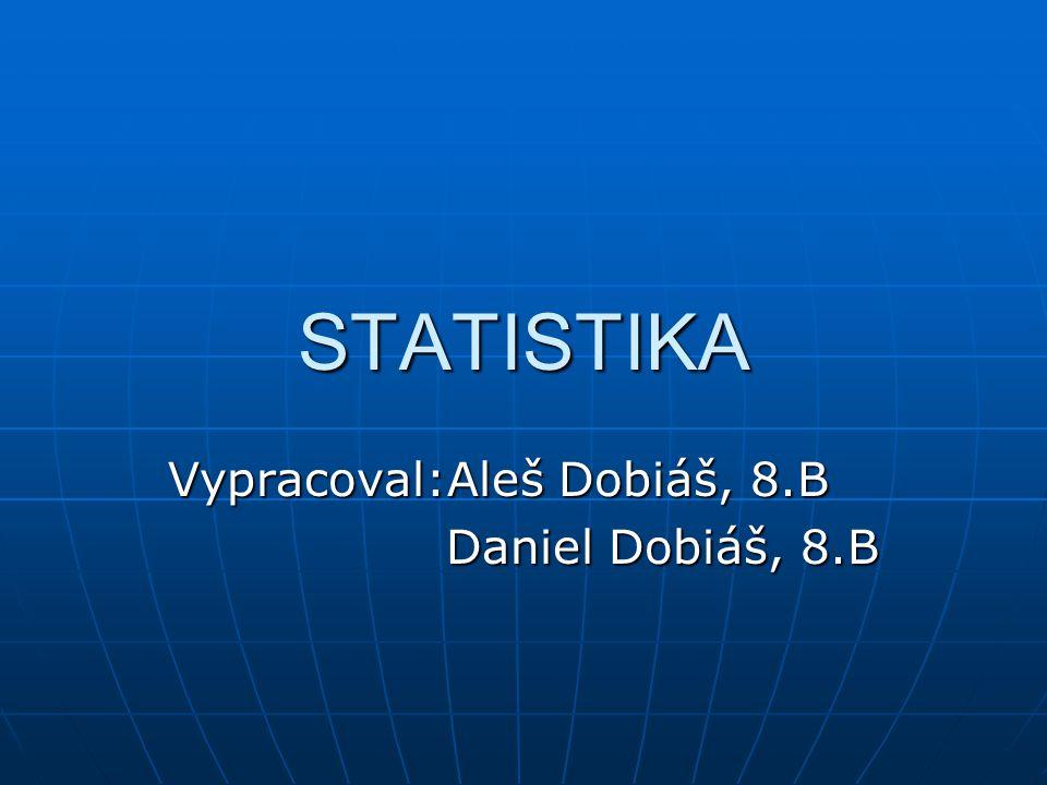 STATISTIKA Vypracoval:Aleš Dobiáš, 8.B Daniel Dobiáš, 8.B Daniel Dobiáš, 8.B