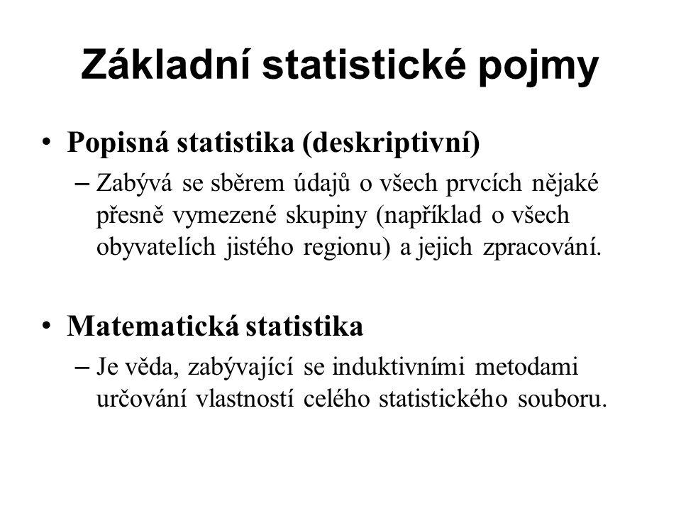 Základní soubor, statistický znak, statistická jednotka Základní soubor – Definice: Základní soubor je určitá, věcně, prostorově a časově vymezená množina všech zkoumaných prvků, u kterých zjišťujeme hodnoty jisté sledované veličiny.
