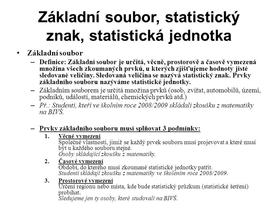 Statistický znak, statistická jednotka Statistický znak – Všechny prvky základního souboru se musí vyznačovat statistickým znakem (veličinou), který vyšetřujeme.