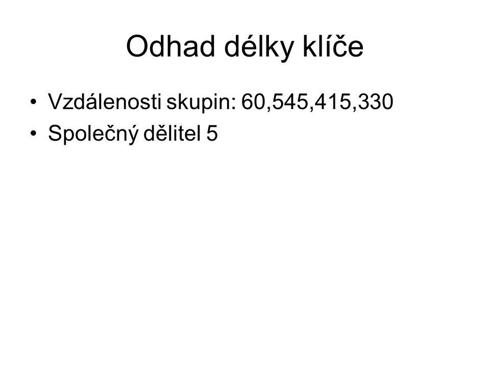 Odhad délky klíče Vzdálenosti skupin: 60,545,415,330 Společný dělitel 5