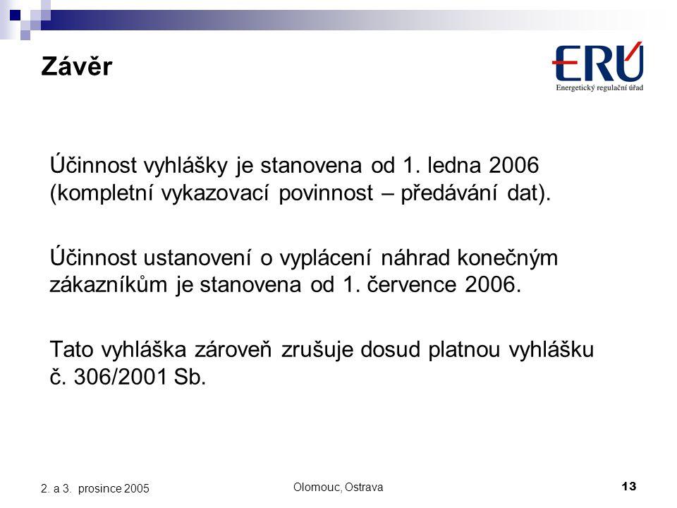 Olomouc, Ostrava13 2. a 3. prosince 2005 Závěr Účinnost vyhlášky je stanovena od 1.