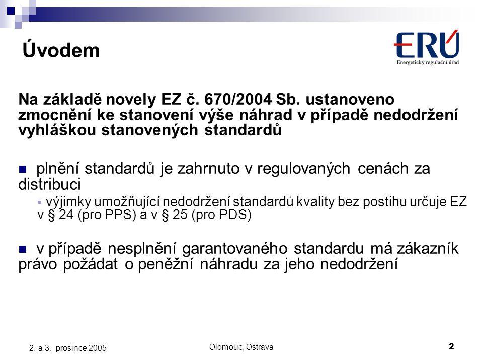 Olomouc, Ostrava2 2. a 3. prosince 2005 Úvodem Na základě novely EZ č.