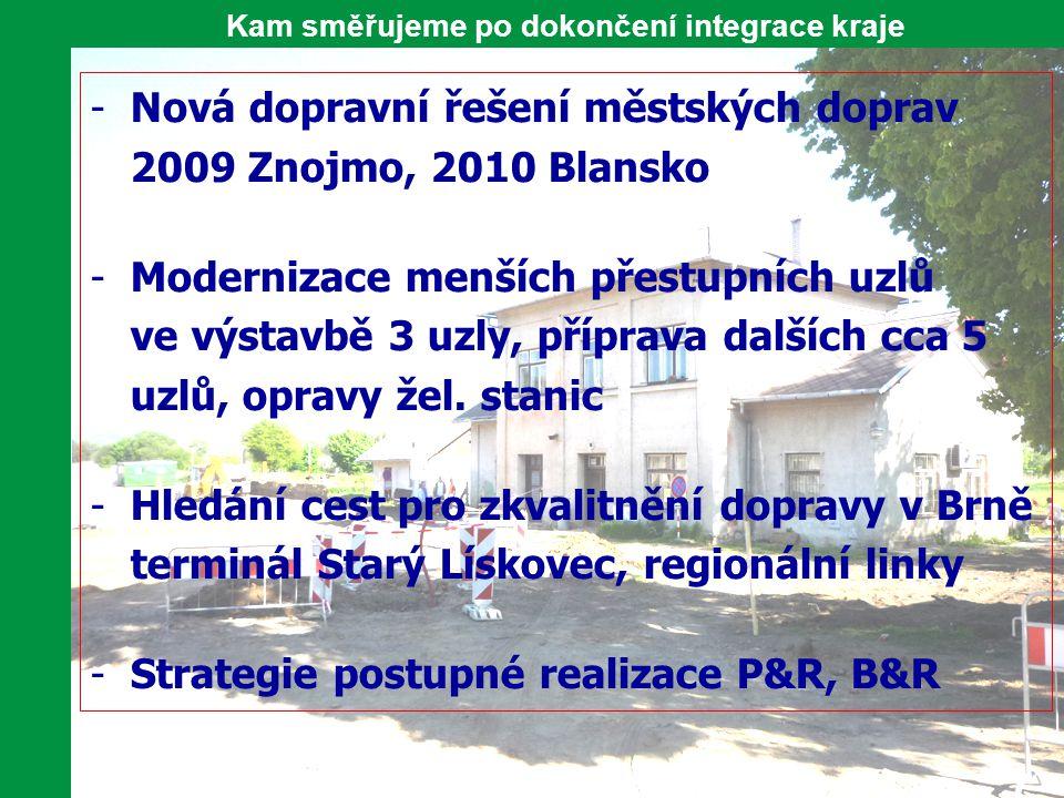 Kam směřujeme po dokončení integrace kraje -Nová dopravní řešení městských doprav 2009 Znojmo, 2010 Blansko -Modernizace menších přestupních uzlů ve v