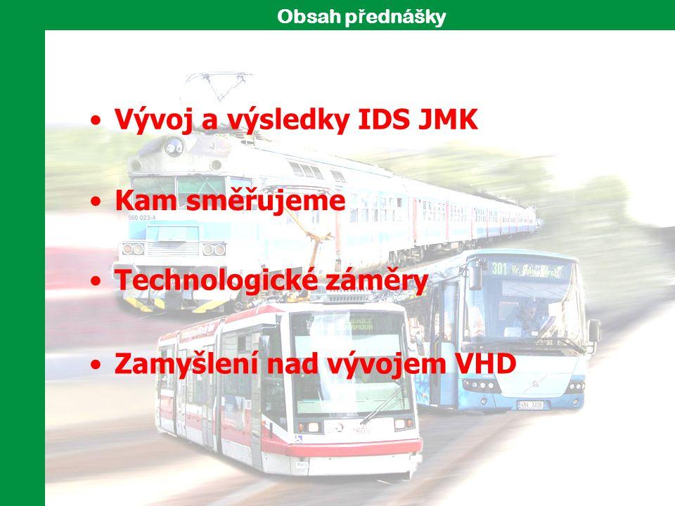 Vývoj a výsledky IDS JMK Zamyšlení nad vývojem VHD Kam směřujeme Obsah p ř ednášky Technologické záměry