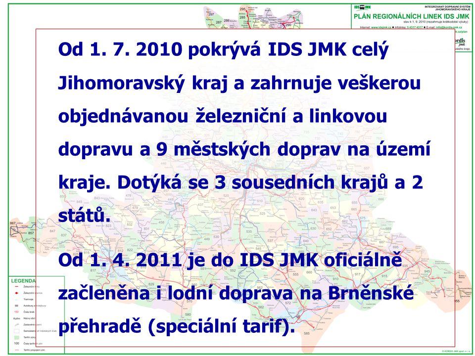 Od 1. 7. 2010 pokrývá IDS JMK celý Jihomoravský kraj a zahrnuje veškerou objednávanou železniční a linkovou dopravu a 9 městských doprav na území kraj