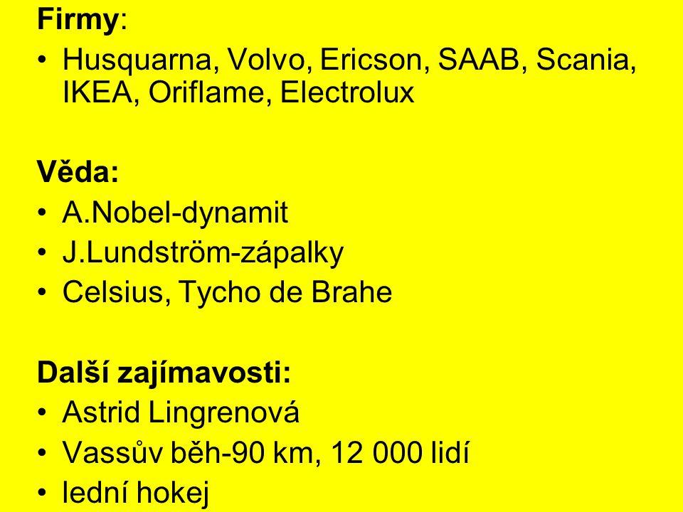 Firmy: Husquarna, Volvo, Ericson, SAAB, Scania, IKEA, Oriflame, Electrolux Věda: A.Nobel-dynamit J.Lundström-zápalky Celsius, Tycho de Brahe Další zaj