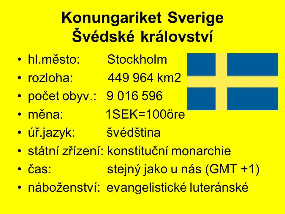 Konungariket Sverige Švédské království hl.město: Stockholm rozloha: 449 964 km2 počet obyv.: 9 016 596 měna: 1SEK=100öre úř.jazyk: švédština státní z