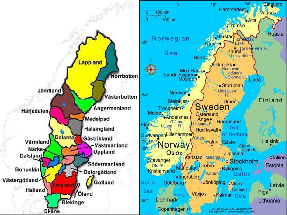 další města: Visby, Ostersund, Örebro, Uppsala Göteland+Svaeland+Norrland rozmanitost krajiny Z pobřeží-fjordy ostrovy: Gotland, Öland 100 000 jezer (Mäleren,Vattern, Vänern) četnost lesů (Norrland) Botnický záliv, Kattegat, Skaggerrak
