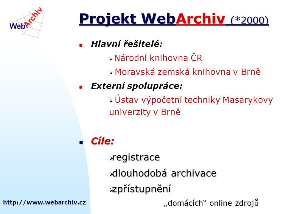http://www.webarchiv.cz Projekt WebArchiv (*2000) Hlavní řešitelé:   Národní knihovna ČR  Moravská zemská knihovna v Brně Externí spolupráce:   Ú