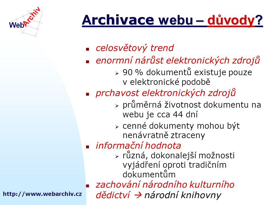 http://www.webarchiv.cz A rchivace webu – důvody? celosvětový trend enormní nárůst elektronických zdrojů  90 % dokumentů existuje pouze v elektronick