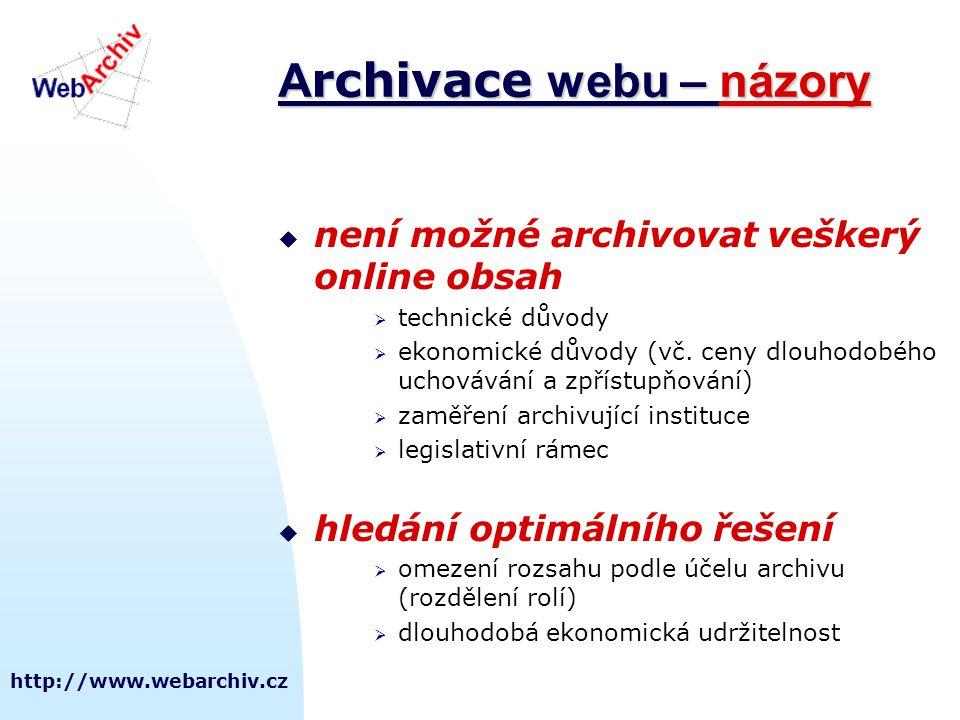 http://www.webarchiv.cz  není možné archivovat veškerý online obsah  technické důvody  ekonomické důvody (vč. ceny dlouhodobého uchovávání a zpříst