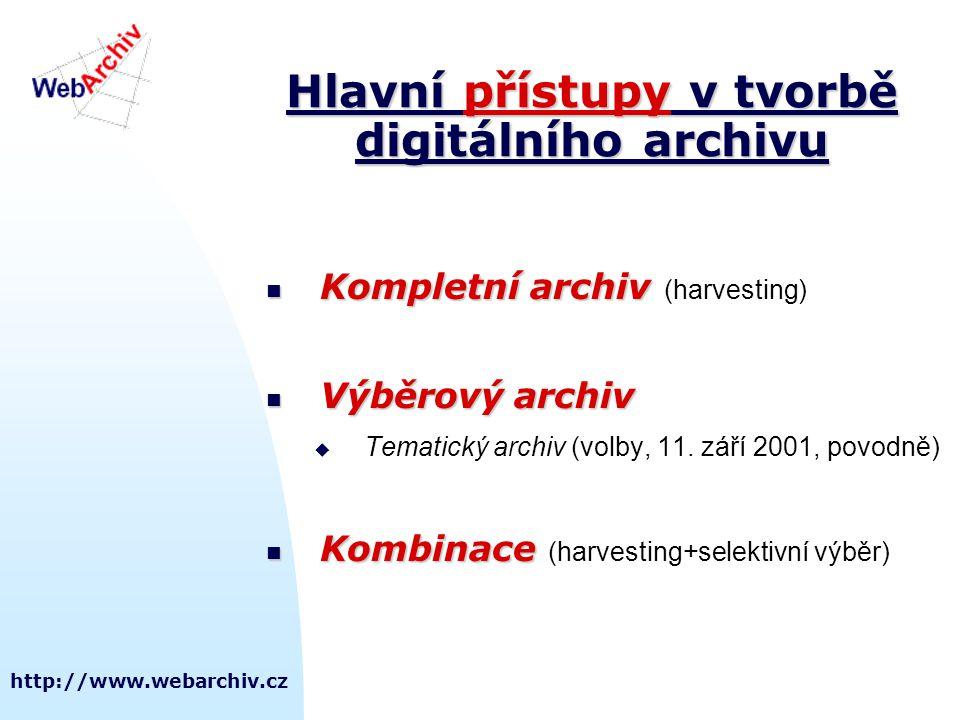 http://www.webarchiv.cz Hlavní přístupy v tvorbě digitálního archivu Kompletní archiv Kompletní archiv (harvesting) Výběrový archiv Výběrový archiv  Tematický archiv (volby, 11.