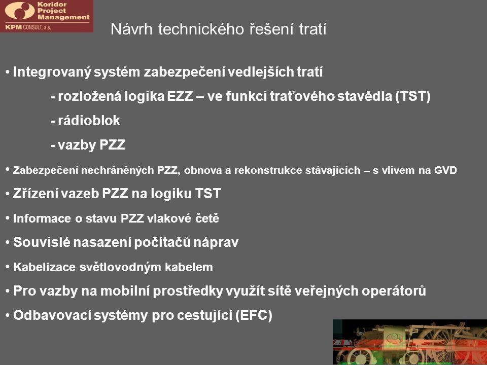Návrh technického řešení tratí Integrovaný systém zabezpečení vedlejších tratí - rozložená logika EZZ – ve funkci traťového stavědla (TST) - rádioblok - vazby PZZ Zabezpečení nechráněných PZZ, obnova a rekonstrukce stávajících – s vlivem na GVD Zřízení vazeb PZZ na logiku TST Informace o stavu PZZ vlakové četě Souvislé nasazení počítačů náprav Kabelizace světlovodným kabelem Pro vazby na mobilní prostředky využít sítě veřejných operátorů Odbavovací systémy pro cestující (EFC)