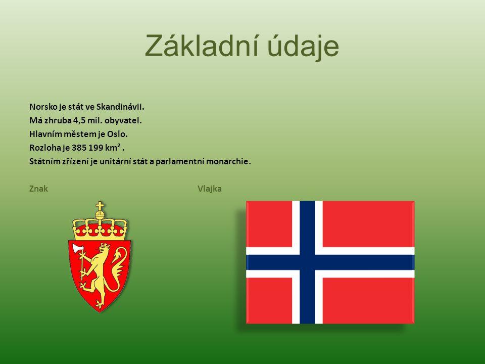 Základní údaje Norsko je stát ve Skandinávii.Má zhruba 4,5 mil.