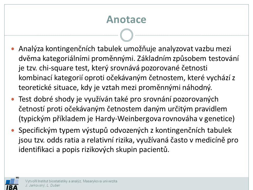 Test hypotézy o symetrii (McNemarův test pro čtyřpolní tabulku) Vytvořil Institut biostatistiky a analýz, Masarykova univerzita J.