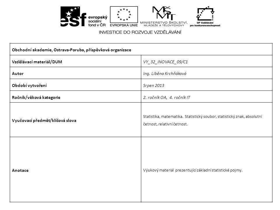 Obchodní akademie, Ostrava-Poruba, příspěvková organizace Vzdělávací materiál/DUMVY_32_INOVACE_09/C1 AutorIng.