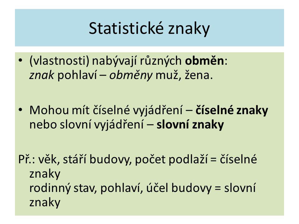 Statistické znaky (vlastnosti) nabývají různých obměn: znak pohlaví – obměny muž, žena.