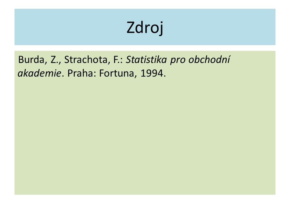 Zdroj Burda, Z., Strachota, F.: Statistika pro obchodní akademie. Praha: Fortuna, 1994.