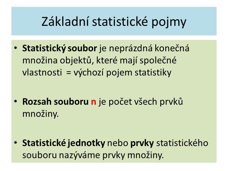 Základní statistické pojmy Statistický soubor je neprázdná konečná množina objektů, které mají společné vlastnosti = výchozí pojem statistiky Rozsah souboru n je počet všech prvků množiny.