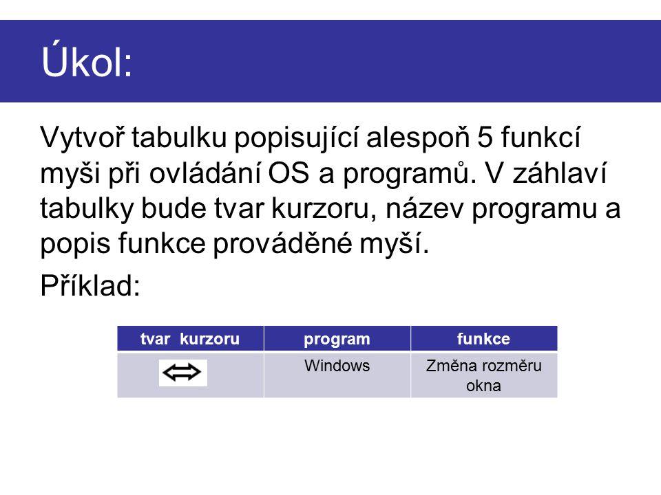 Úkol: Vytvoř tabulku popisující alespoň 5 funkcí myši při ovládání OS a programů. V záhlaví tabulky bude tvar kurzoru, název programu a popis funkce p