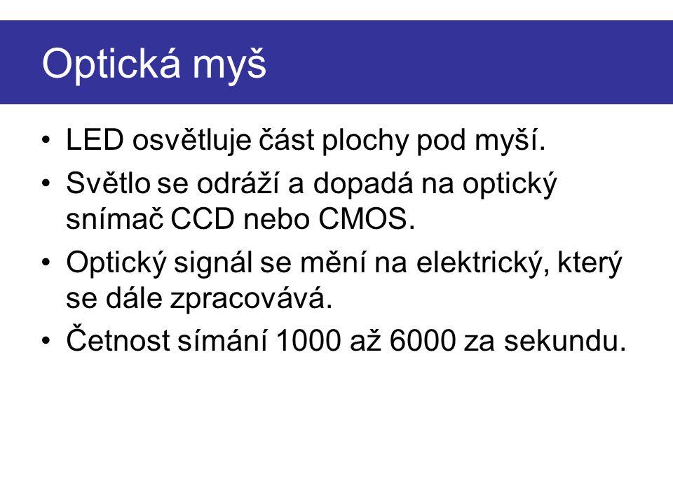 Optická myš 1 – podložka 2 – CCD snímač 3 – optika 4 – světelný paprsek 5 - LED