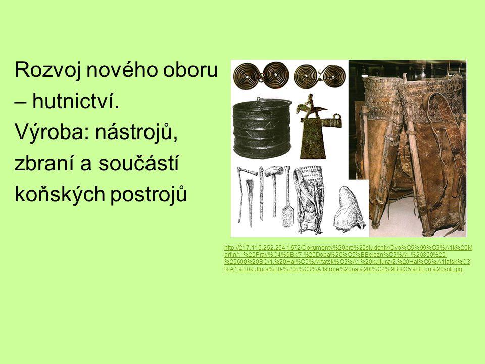 Rozvoj nového oboru – hutnictví. Výroba: nástrojů, zbraní a součástí koňských postrojů http://217.115.252.254:1572/Dokumenty%20pro%20studenty/Dvo%C5%9