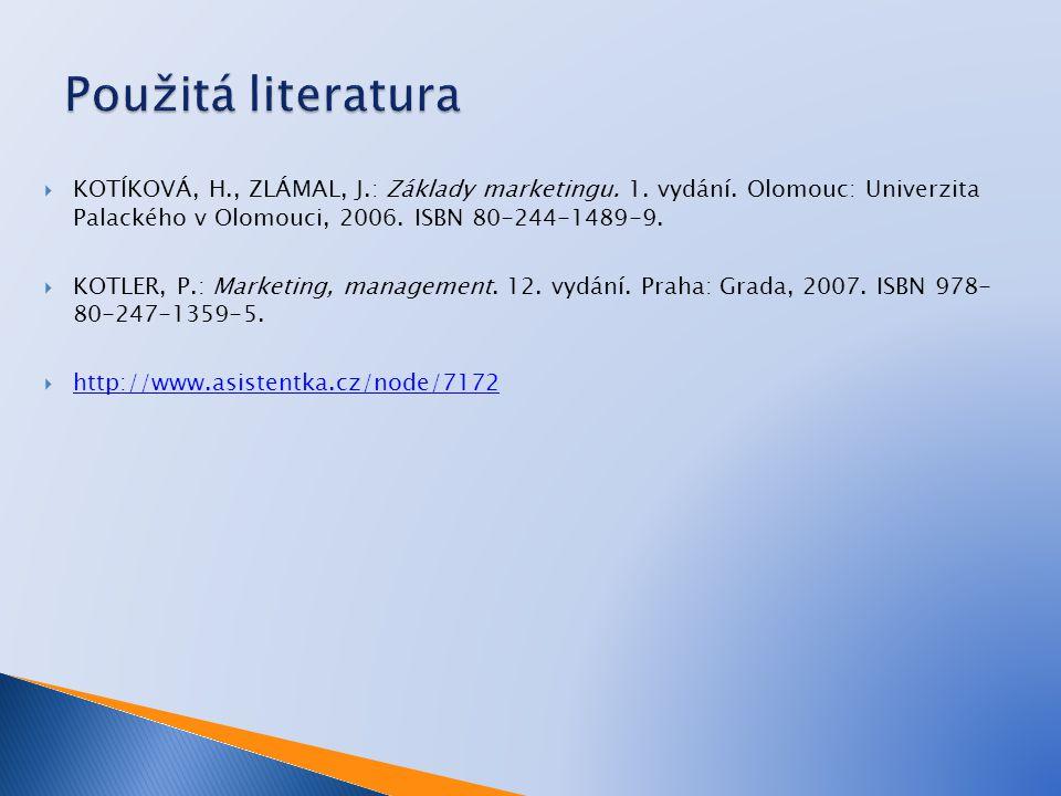  KOTÍKOVÁ, H., ZLÁMAL, J.: Základy marketingu. 1. vydání. Olomouc: Univerzita Palackého v Olomouci, 2006. ISBN 80-244-1489-9.  KOTLER, P.: Marketing