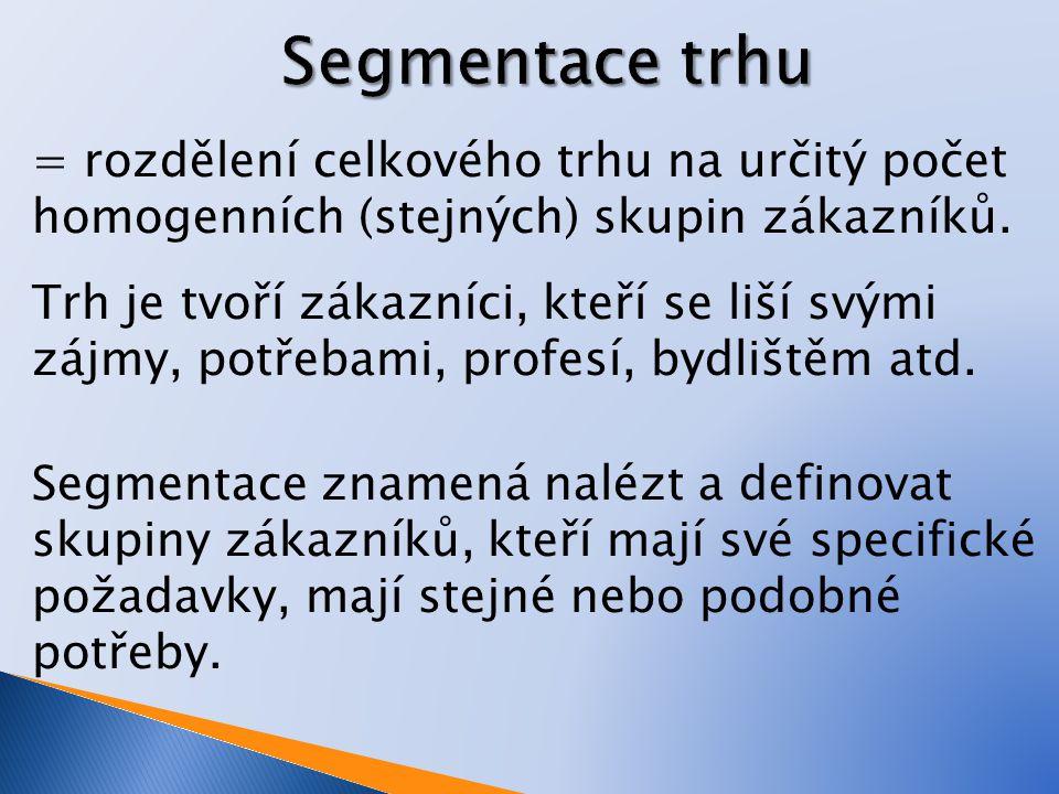 Podnik se často zaměřuje na více segmentů a používá více hledisek pro segmentaci.