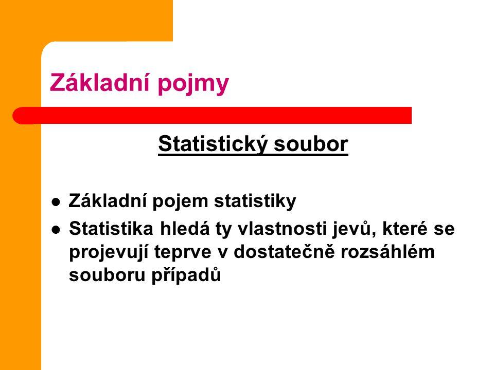 Základní pojmy Statistický soubor Základní pojem statistiky Statistika hledá ty vlastnosti jevů, které se projevují teprve v dostatečně rozsáhlém souboru případů