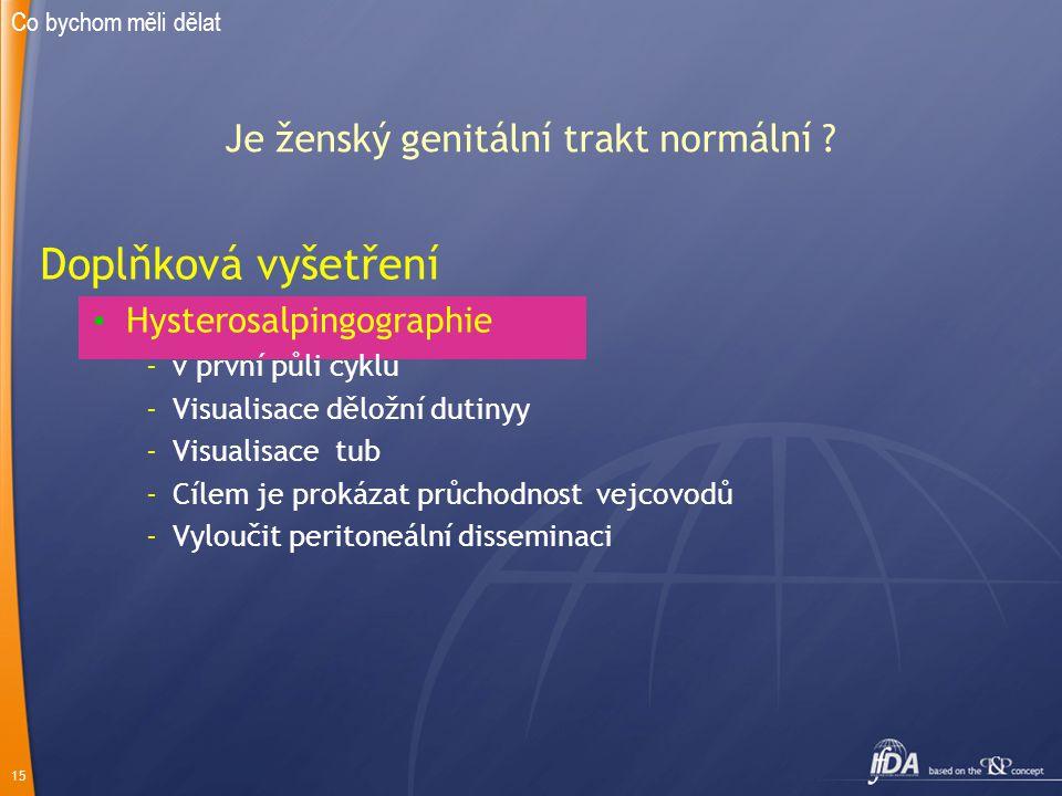 15 Je ženský genitální trakt normální ? Doplňková vyšetření Hysterosalpingographie -v první půli cyklu -Visualisace děložní dutinyy -Visualisace tub -