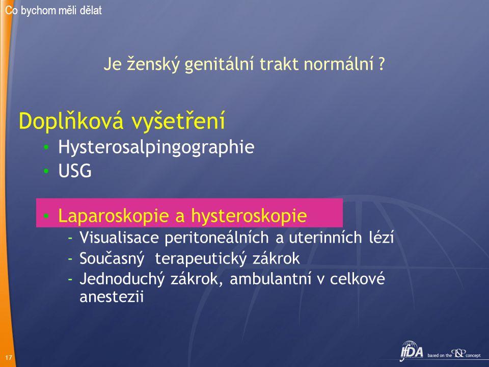 17 Je ženský genitální trakt normální ? Doplňková vyšetření Hysterosalpingographie USG Laparoskopie a hysteroskopie -Visualisace peritoneálních a uter