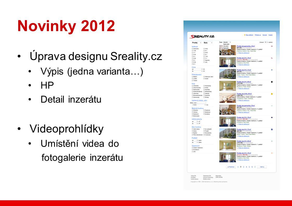 Novinky 2012 Úprava designu Sreality.cz Výpis (jedna varianta…) HP Detail inzerátu Videoprohlídky Umístění videa do fotogalerie inzerátu