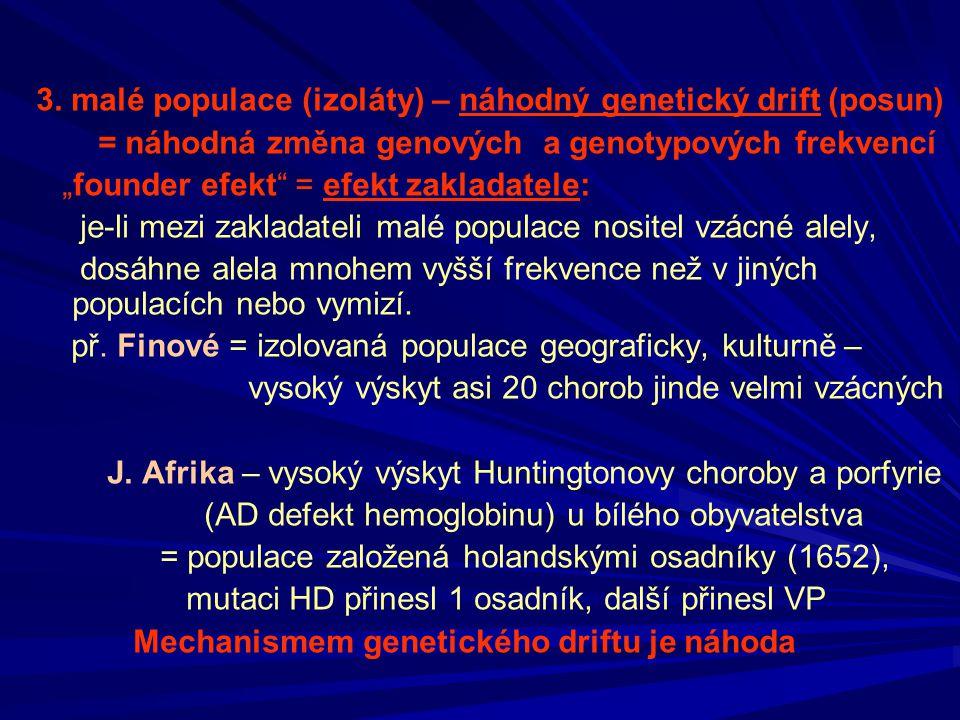 """3. malé populace (izoláty) – náhodný genetický drift (posun) = náhodná změna genových a genotypových frekvencí """"founder efekt"""" = efekt zakladatele: je"""