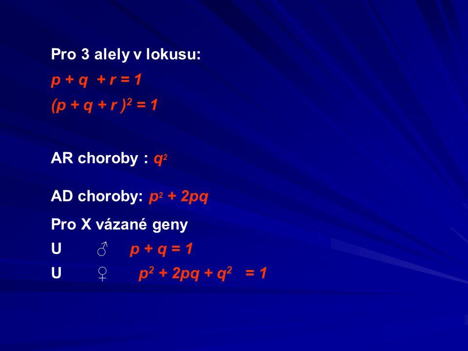 Pro 3 alely v lokusu: p + q + r = 1 (p + q + r ) 2 = 1 AR choroby : q 2 AD choroby: p 2 + 2pq Pro X vázané geny U ♂ p + q = 1 U ♀ p 2 + 2pq + q 2 = 1