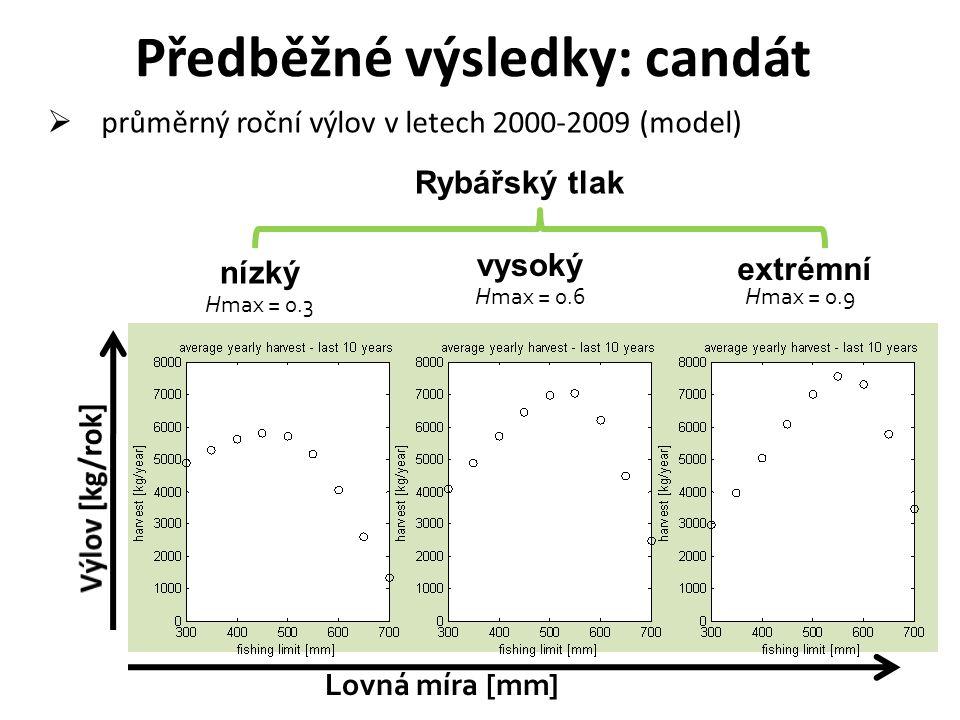 Hmax = 0.9Hmax = 0.6 Hmax = 0.3 Lovná míra [mm] Rybářský tlak  průměrný roční výlov v letech 2000-2009 (model) Předběžné výsledky: candát extrémní vy