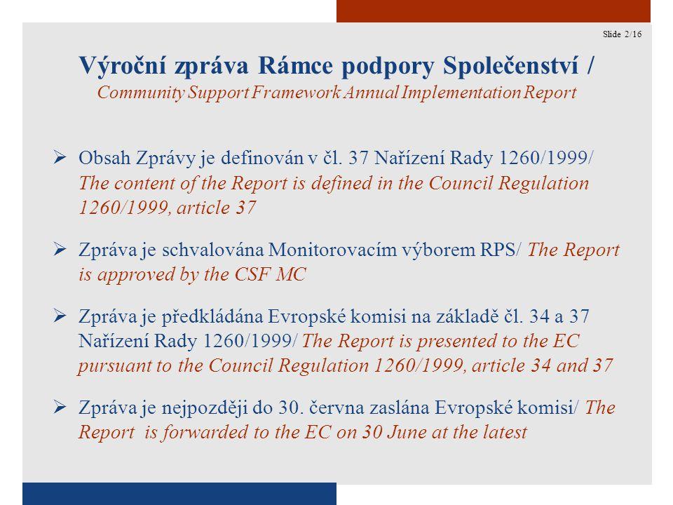 2 Výroční zpráva Rámce podpory Společenství / Community Support Framework Annual Implementation Report  Obsah Zprávy je definován v čl.