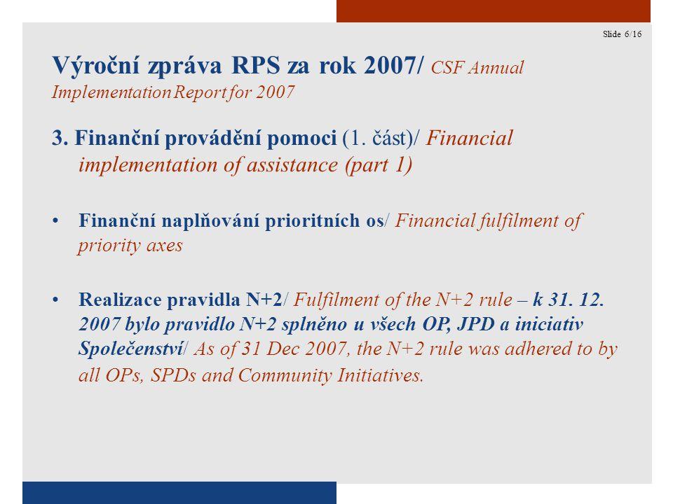 6 Výroční zpráva RPS za rok 2007/ CSF Annual Implementation Report for 2007 3.