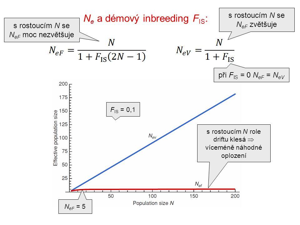N e a démový inbreeding F IS : s rostoucím N role driftu klesá  víceméně náhodné oplození N eF = 5 při F IS = 0 N eF = N eV F IS = 0,1 s rostoucím N se N eF moc nezvětšuje s rostoucím N se N eF zvětšuje