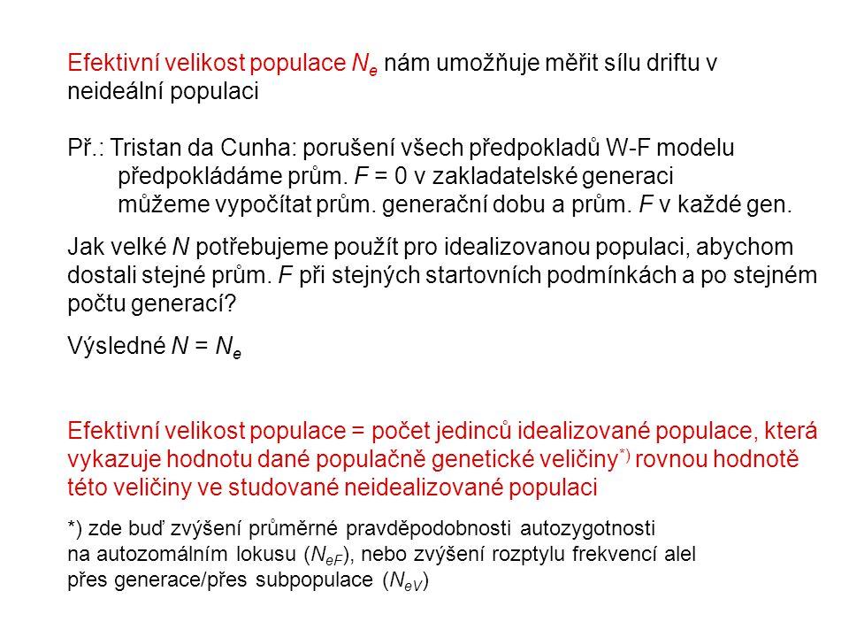 Efektivní velikost populace N e nám umožňuje měřit sílu driftu v neideální populaci Př.: Tristan da Cunha: porušení všech předpokladů W-F modelu předpokládáme prům.