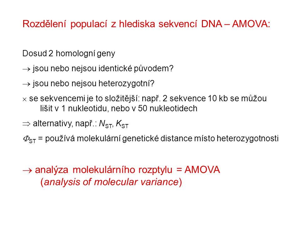 Rozdělení populací z hlediska sekvencí DNA – AMOVA: Dosud 2 homologní geny  jsou nebo nejsou identické původem.