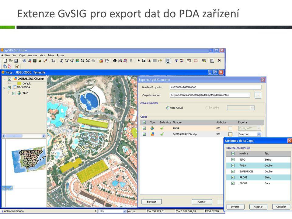 Extenze GvSIG pro export dat do PDA zařízení