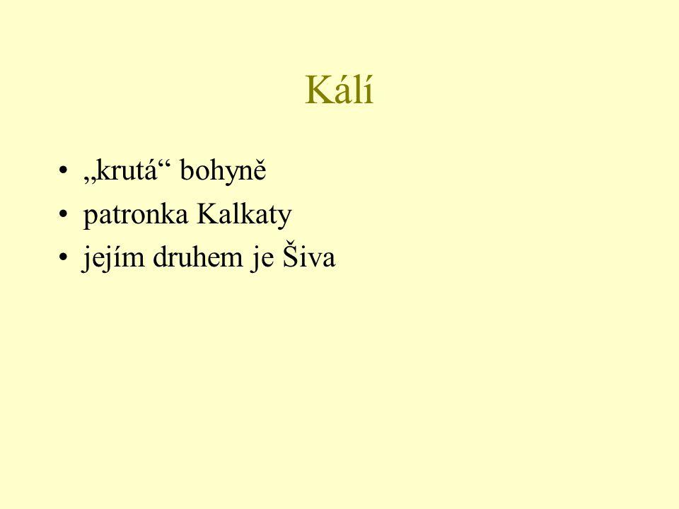 """Kálí """"krutá bohyně patronka Kalkaty jejím druhem je Šiva"""