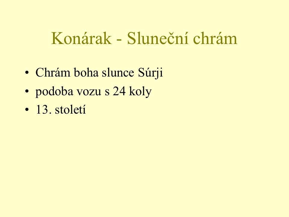 Chrám boha slunce Súrji podoba vozu s 24 koly 13. století